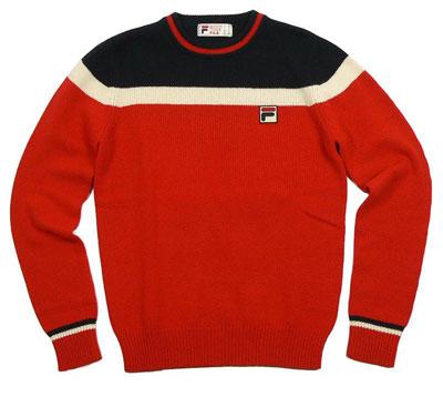fila siro 80s style knitted crewneck sweater retro to go. Black Bedroom Furniture Sets. Home Design Ideas