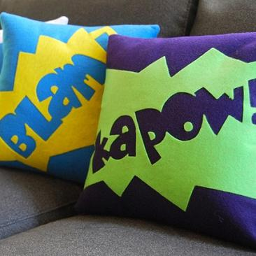 Kapow cartoon cushions