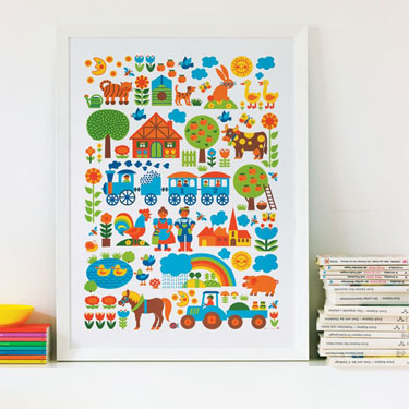 A blast from the past, but the ABC and Farm posters by Graziela would still  look very cool in a modern-day kids room.