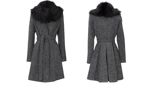 Tweed Faux Fur Coat from Oasis | Retro to Go
