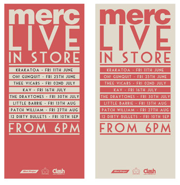 Merc forthcoming instore gigs