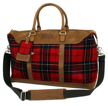 His Knibs classic men's style: Pendleton tartan weekend bag