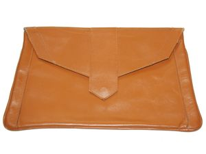 Tan Leather Deco Style 70s Clutch Bag_9334_LRG