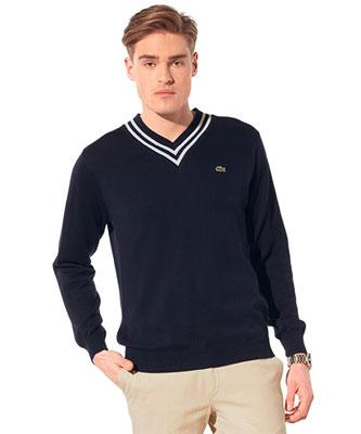 lacoste v-neck sweater. slim-fit v-neck sweater.