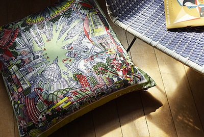 Silk festival of britain cushion