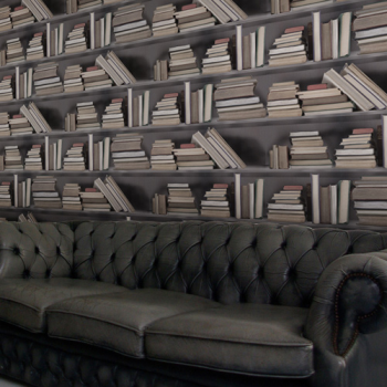 trompe l oeil wallpaper. The Bookshelf Wallpaper from
