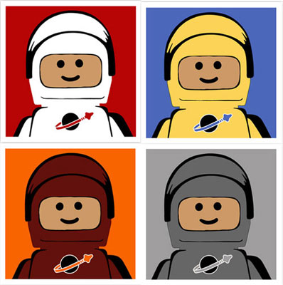 Lego-inspired Spaceman print set by Ame72