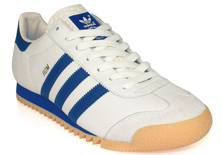 adidas rom trainers white and blue