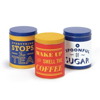 One good cup deserves another tins from jamie oliver for Retro kitchen set of 6 spice tins
