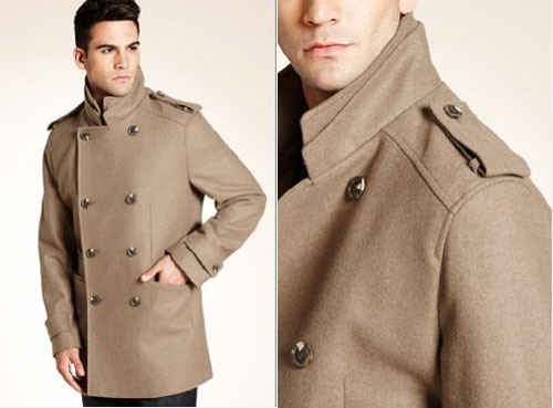 Mens pea coat marks and spencer