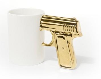 Gold gun mug