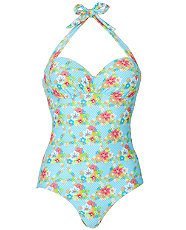 Kelly Brook Spotty Floral Swimsuit Retro To Go