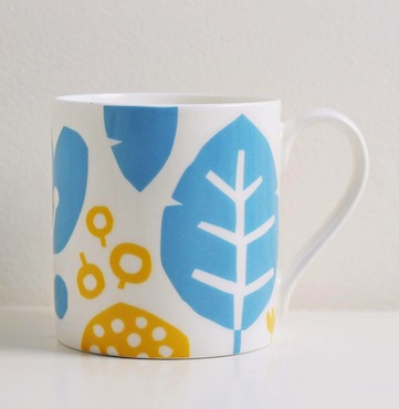 Kate clarke blue leaf mug