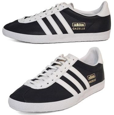 adidas gazelle og black leather trainers