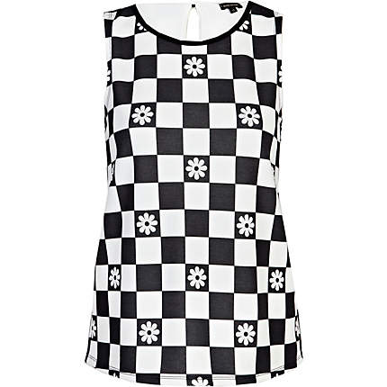 Black and white check top river island