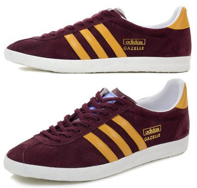 adidas gazelle maroon yellow