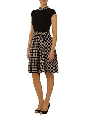 Dorothy Perkins camel and black spot dress