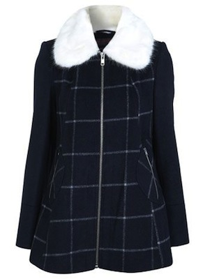 Miss Selfridge zip up check coat