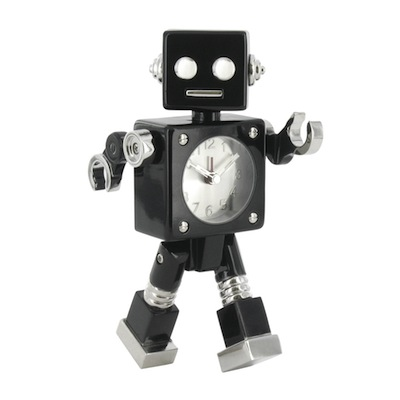 Black robot alarm clock