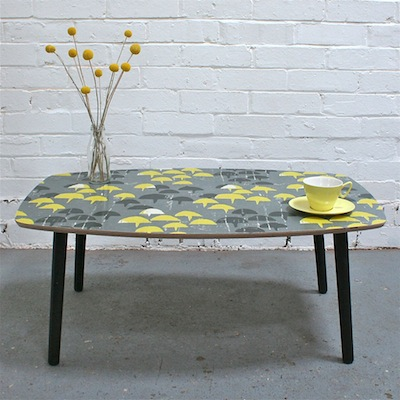 Winters Moon vintage fabric table