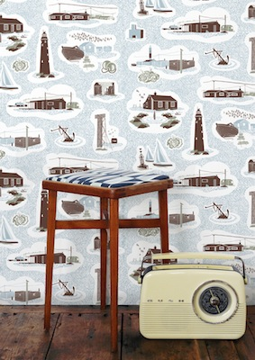 Dungeness wallpaper blue