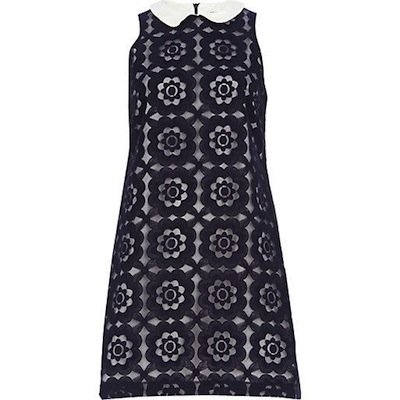 Navy blue contrast collar dress
