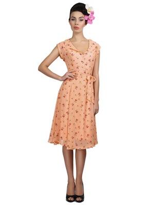 Collectif violet cherry print dress