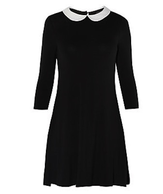 Black contrast collar dress new look
