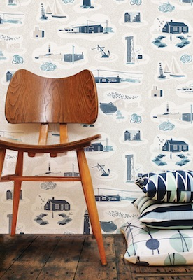 Dungeness wallpaper washed denim