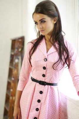 Pink check shirt dress