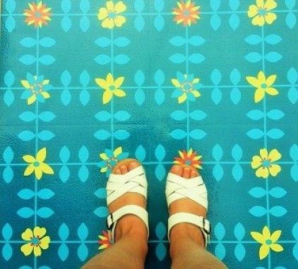 Retro blue Mary vinyl floor tiles by Zazous - Retro to Go
