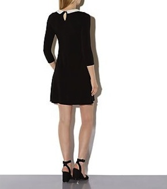 New look black collar dress back