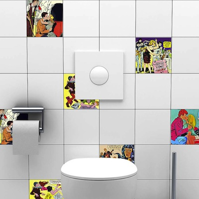 Comic book tile stickers