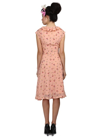 Violet Floral Cherry Print Dress Back