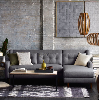 Midcentury Style Crosby Sectional Sofa At West Elm Retro To Go