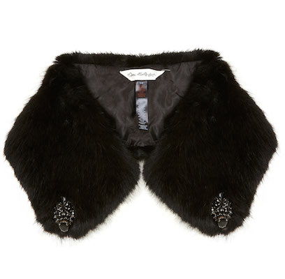 Embellished faux fur black