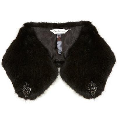 Embellished faux fur black
