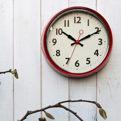 1950s red wall clock