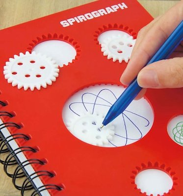 Spirograph notebook in use