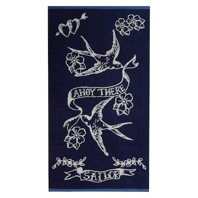 Vintage tattoo bath towel
