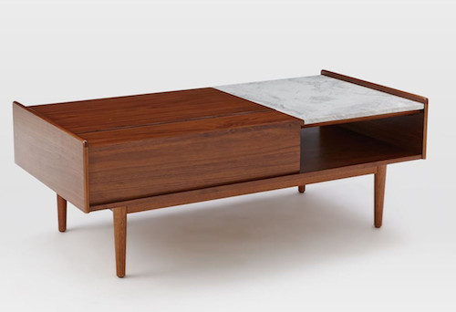 West Elm pop-up storage coffee table