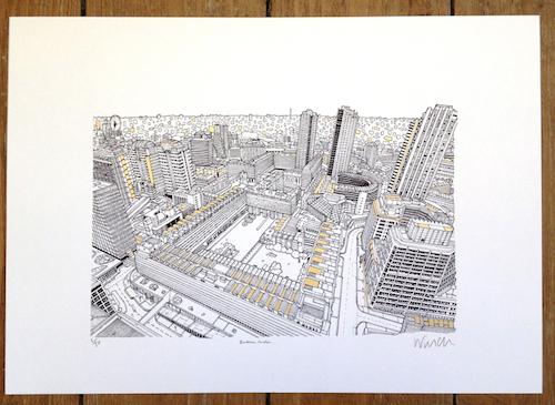 Gold Barbican print