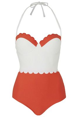 Scallop swimsuit red