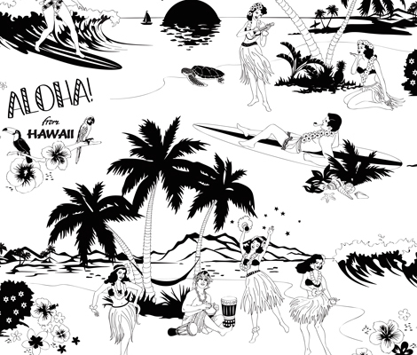 Aloha!-wallpaper-panel-BW-WEB