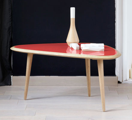 Lovely Different shapes and different colours but the look of the Fifties Table range by Red Edition at Monoqi is pretty consistent