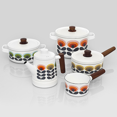 Orla Kiely enamel kitchen