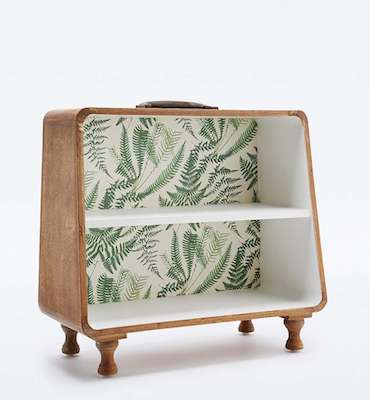 Patterned suitcase shelf plants