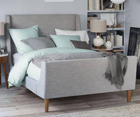 Luxury Add some midcentury style glamour to your bedroom with this Upholstered Sleigh Bed at West Elm