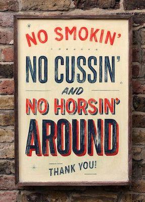 No horsin around sign
