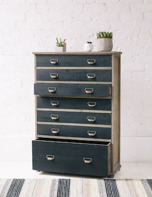 Vintage plan chest rose and grey